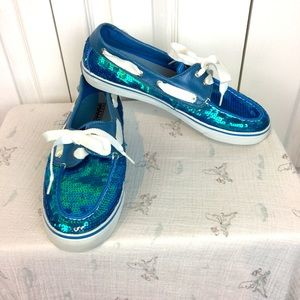 Blue sequinned Sperry Top Sider shoes with laces